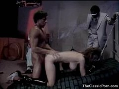 Horny gal in collar and leash fucked hard