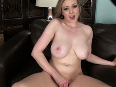 Busty Sapphire Blue is lonely but horny. She takes off her pants and strokes her juicy pussy hard with her hand. Then big meloned lady takes her recent toy!
