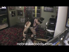 Vacation home movie scene for naughty young coeds