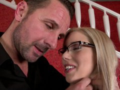 Nesty is a hawt real estate agent in glasses. That babe is one on one with horny chap that whips out his sausage for her. That babe takes his snake in her European mouth eagerly.