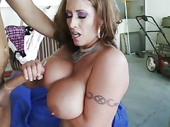 Eva Notty gets her tits splashed with warm dick juice