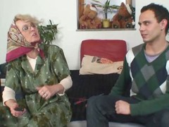 Granny gets him excited with body