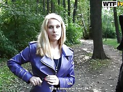 slutty blonde in the woods
