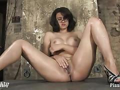 dorky milf enjoying piss on her naked hot body