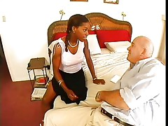 Violet Demarco is a skinny black midget milf with big tits. The hot babe with a nice ass knows how to please a guy and that's the reason Claudio called her. They take their clothes off and she starts sucking on his meaty cock. Being a sexually experienced woman, she doesn't forget to lick and suck his balls.