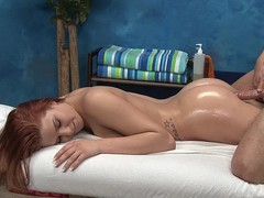 Redhead gal Abby gets fucked from behind