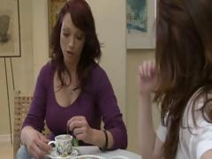 Two slutty brunette hair MILF's have tea party and lick every others muff