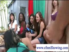 Cfnm beauties jerking off guy in a swing while he eats pussy