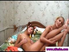 Lesbian teen girls showing assets
