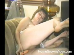 Double dildo action with a retro sweetheart