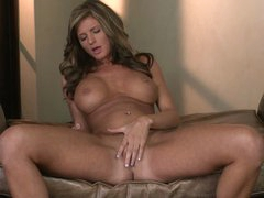 Naughty big breasted babe Daisy Lynn gets naked and spreads her sexy legs eagerly. She rubs her snatch non-stop and slides her fingers inside. Her taut hole is so wet!