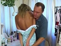 Devilish golden-haired russian teen getting wicked with horny daddy