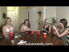 Hot college chicks play strip poker