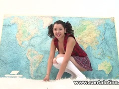 Hawt wicked latina masturbating while taking geography test